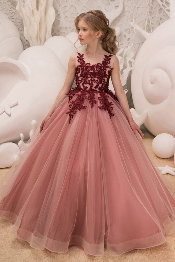 7c6b89ce0 Charming Tulle Jewel Neckline Floor-length Ball Gown Flower Girl Dress With  Beaded Lace Appliques