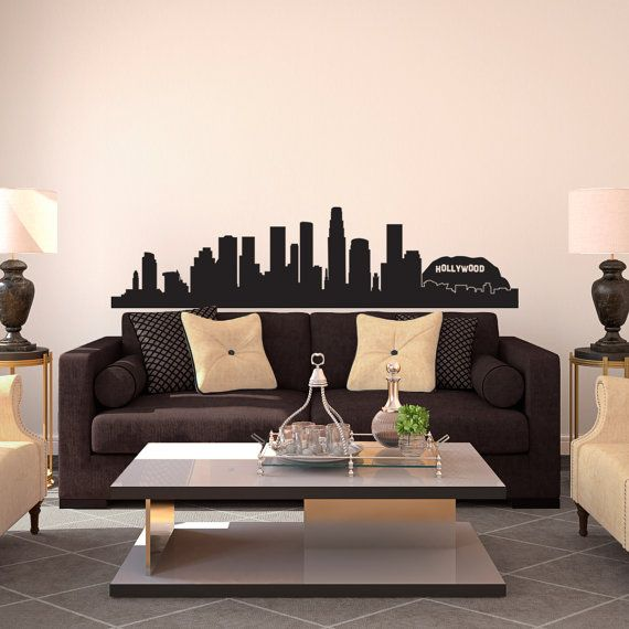 Los Angeles LA Hollywood City Skyline Silhouette   Wall Decal Custom Vinyl  Art Stickers