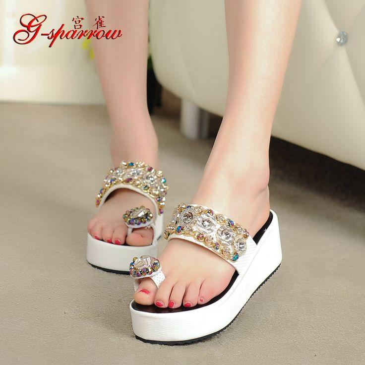 Women's New Summer Style Shoes Flip Flops Diamond Slippers Sale High Heeled Sandals Online