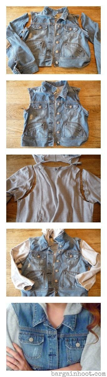 Upcycle a denim jacket- I had one that was a bit to small, but without the sleeves it makes a nice vest!: