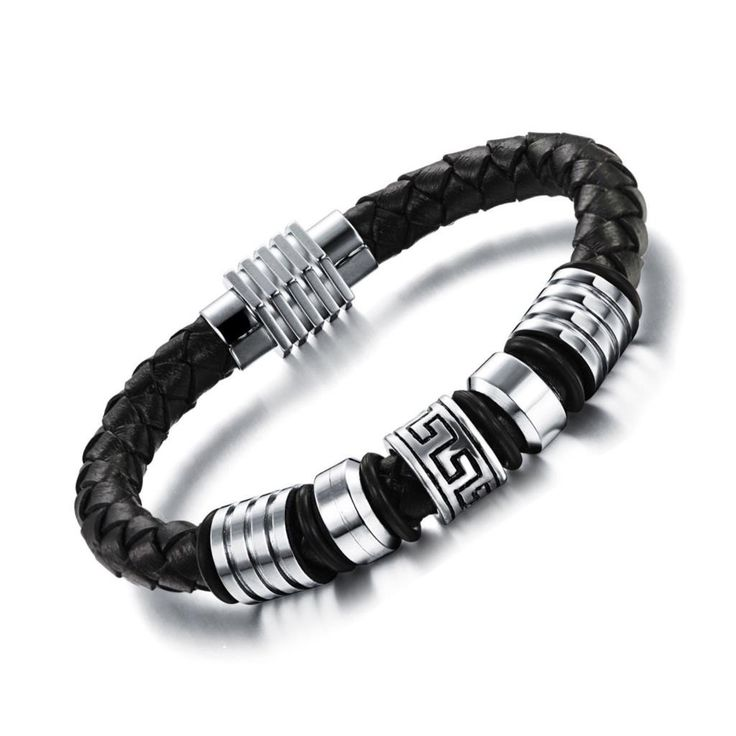 Black Braided Genuine Leather Bracelet with Beads