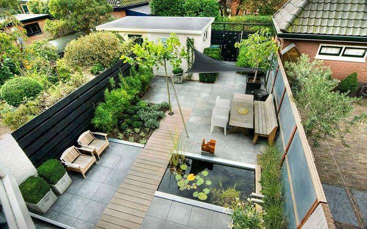 klassiek moderne tuin bovenaanzicht