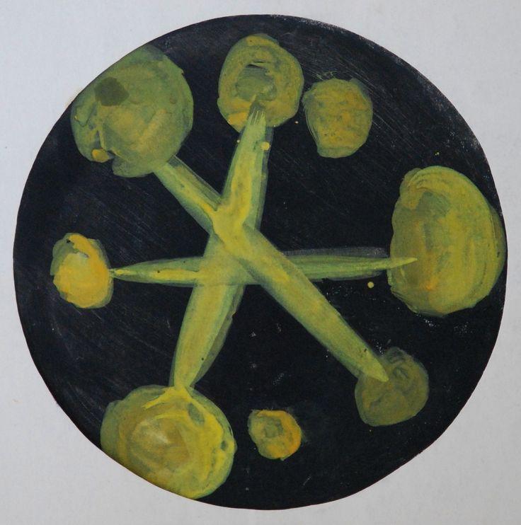 Lubomir Blecha, design for decorative glass disk, 1958, aquarelle on paper, D: 31,5 cm, UMPRUM Prague