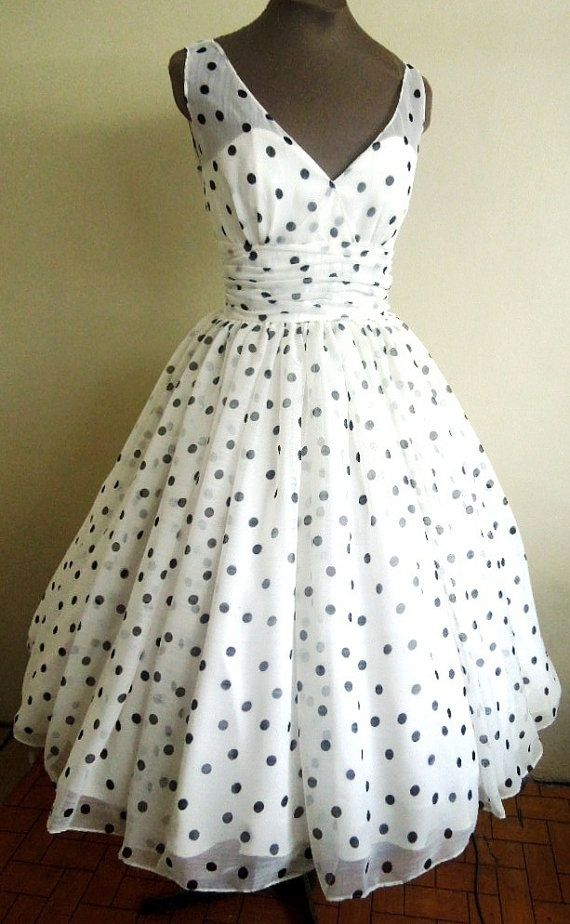 womens sports bag Perfectly simple and adorable 50s style Polka dot Chiffon dress