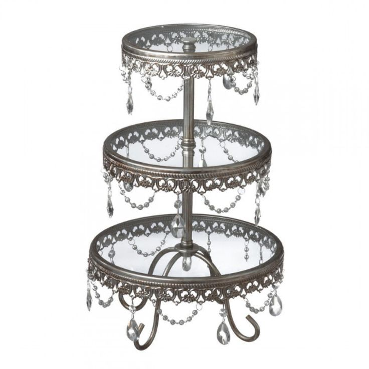 Antique Silver Three Tier Cake Stand With Jewels [225 063545 Jewel 3 Tier