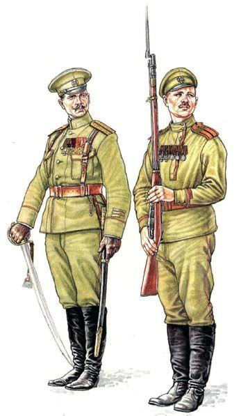 Капитан и мл. унтер-офицер Георгиевского батальона охраны Ставки.