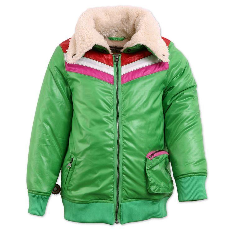 Super coole jas voor stoere meiden! Lekker warm met wollen kraag.