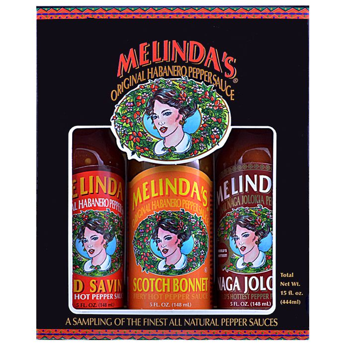 Melinda's Fiery Collection includes our hottest sauces to date. This 3 Pack includes Melinda's Naga Jolokia Pepper Sauce, Melinda's Scotch Bonnet Pepper Sauce, and Melinda's Original Habanero XXXXtra Reserve Hot Sauce.