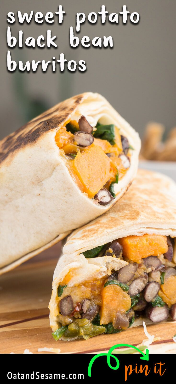A BURRITO that everyone will love! Spinach, Sweet Potato, Black Beans tossed with a little chipotle and optional cheese. Freezable, Make Ahead and Perfect to tote to Lunch during the week! | #VEGETARIAN | #VEGAN | #MEXICAN | #BURRITO | #MAKEAHEAD | #Recipe at OatandSesame.com