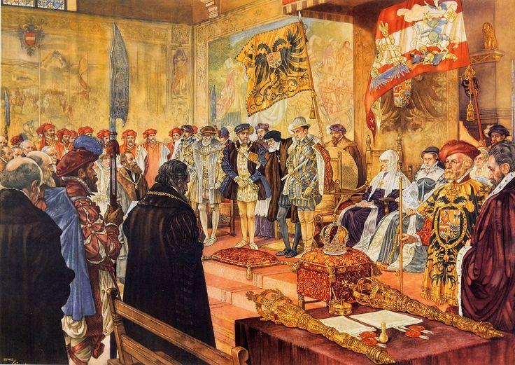 Karel V doet afstand van de #Regering, 1555   #Schoolplaat #Isings