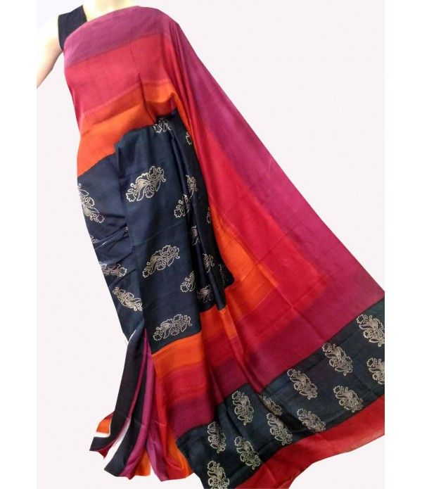 Multi Colour Handpainted Murshidabad Silk Saree