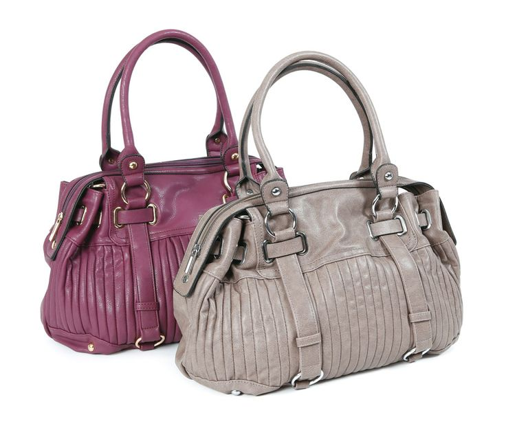 Madison Handbag - This designer-style handbag features a chic pleated look on the front, shiny metal accessories, and a zippered top closure. A convenient zippered exterior pocket on the back is perfect for keys and your cell phone, and a removable cross-body shoulder strap lets you carry this versatile handbag in two ways. The inside features coordinating fabric lining, a zippered side pocket, and two open pockets. Find out more at www.EverydayStyle.com