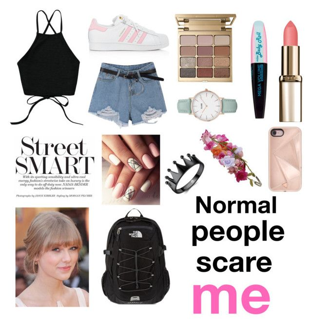 """""""Remember you all are beautiful❤️"""" by polivoreaddicted on Polyvore featuring moda, adidas, Stila, CLUSE, Rebecca Minkoff, Accessorize e The North Face"""