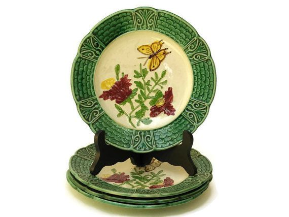 4 Antique Green Majolica Plates with Butterfly by LeBonheurDuJour