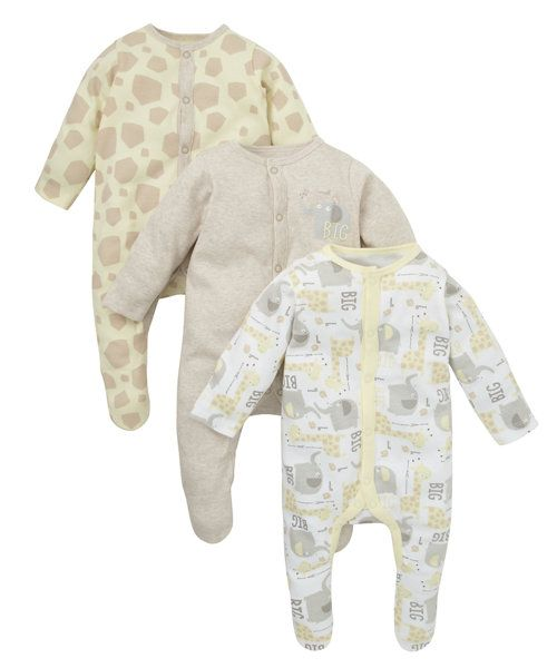 Unisex Giraffe Sleepsuits - 3 Pack http://www.parentideal.co.uk/mothercare---baby-clothes.html