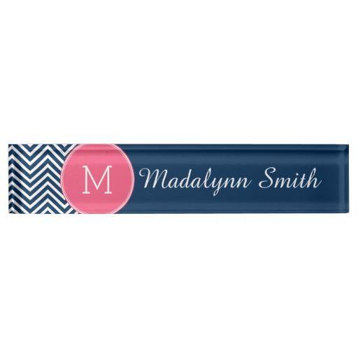 Navy Blue and Magenta Chevrons Custom Monogram Name Plate