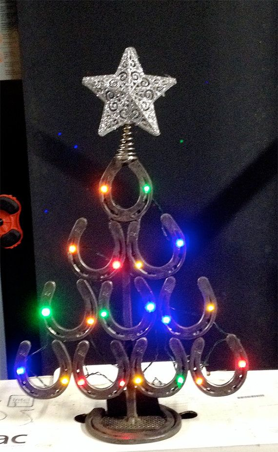 lighted Christmas Tree made from Horseshoes