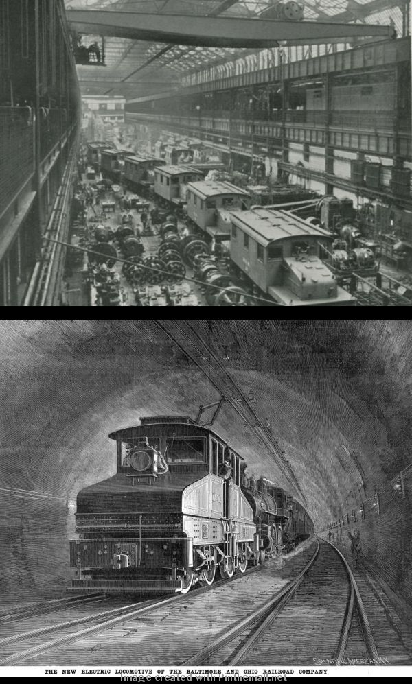 TRANSIT: Electric locomotive production in Pennsylvania and a train through a Baltimore tunnel. Notice the steam locomotive is still attached for passage through the tunnel. More electric  locomotives were being produced because of urban demands and the building of tunnels.