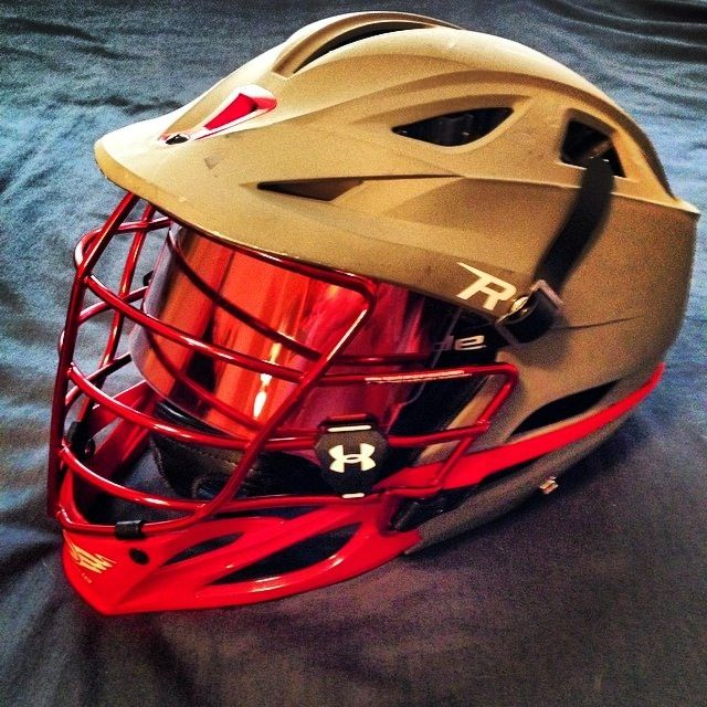 Great looking Cascade R lacrosse helmet with an Under Armour Visor with a Red SHOC insert www.shocvisor.com Lax Grow the Game