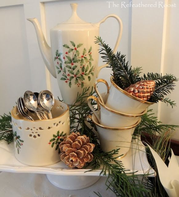 Christmas tea set display: Lenox Eternal and Holiday pattern mix and match