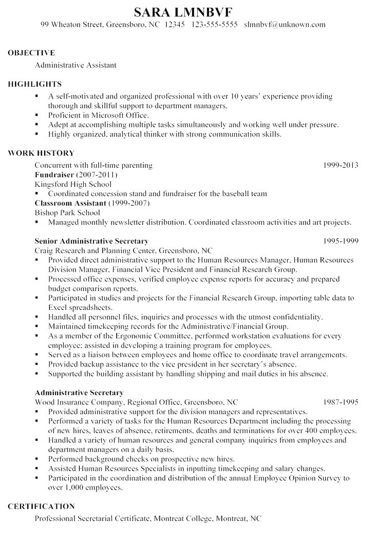 7 best Resume Stuff images on Pinterest Resume format, Sample - administrative resume samples