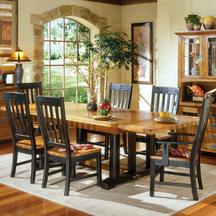 Intercon Rustic Mission Refectory Dining Table  Sheelys