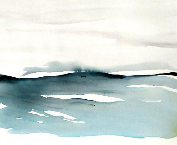 Original Watercolor Abstract Landscape painting Large