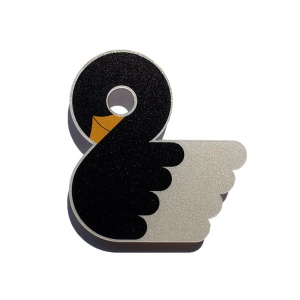 lovely designed black swan brooch