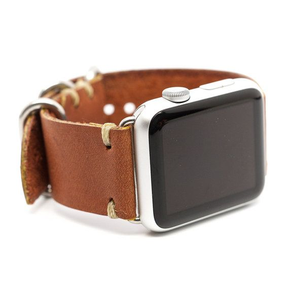 E3 Supply Co Handmade Leather 2 Piece Watch Band for the Apple Watch: English Tan Horween Chromexcel. All of our E3 Watch Bands are hand crafted in
