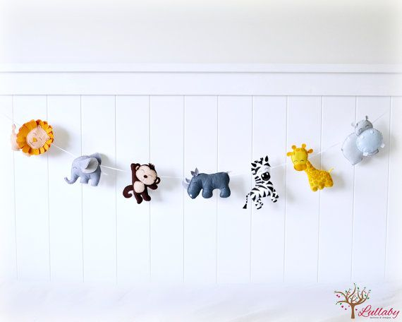 African animal bunting/ banner/ garland - lion, elephant, monkey, rhino, zebra, giraffe, hippo - felt - jungle animals - nursery decor