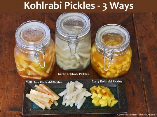 Kohlrabi Pickles ~ in 3 different ways: Chili Lime, Curry and Garlic. Crunchy veggies with vitamin C and a probiotic punch. Kohlrabi is a cross between a cabbage and turnip. The whole vegetable is edible ~ the leaves and stem, which swells up like a bulb. YUM!