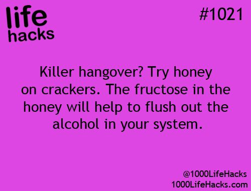 Dr Oz said that to Cure a Holiday Hangover, you can eat crackers with 2 TB of honey spread on each one.  The fructose in the honey helps to get rid of alcohol in your system, and make sure to drink plenty of water to rehydrate your brain.