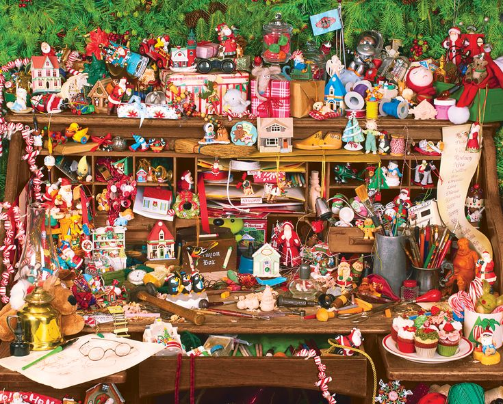 Keepsake's on Santa's Desk, a 1000 piece jigsaw puzzle by Springbok Puzzles.