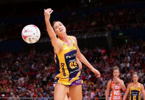 Caitlin Bassett of the Lightning follows the ball during the round 14 Super Netball match between the Giants and the Lightning at Qudos Bank Arena on May 27, 2017 in Sydney, Australia.