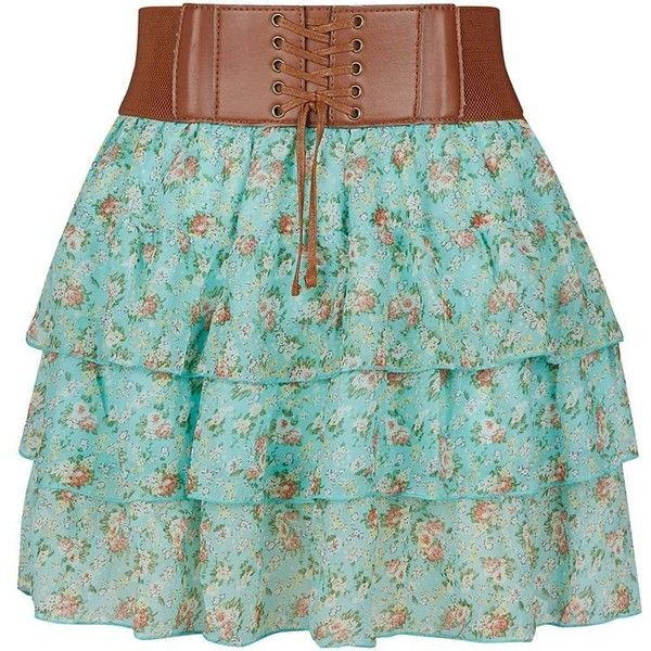Teens Mint Green Ditsy Floral Rara Skirt ❤ liked on Polyvore featuring skirts, mini skirt, mini cami, green mini skirt, mint green camisole and tie skirt