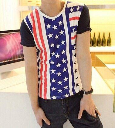 Fashion American Flag Print Round Neck Short Sleeve Slimming Cotton T-shirt For Men Color: COLORMIX Size: XL, 2XL, M, L Category: Men > Men's T-Shirts & Vest   Material: Cotton, Polyester  Sleeve Length: Short  Collar: Round Neck  Style: Fashion  #mensstripedtshirtblackandwhite #menstshirts #blackandwhitetshirt #stripedtshirt #bridgat.com
