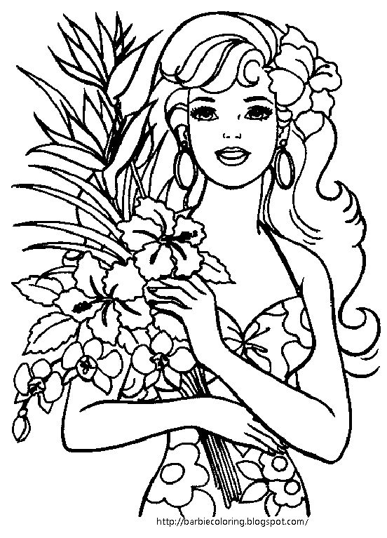I LOVE THESE SUMMERY BARBIE COLORING PAGES