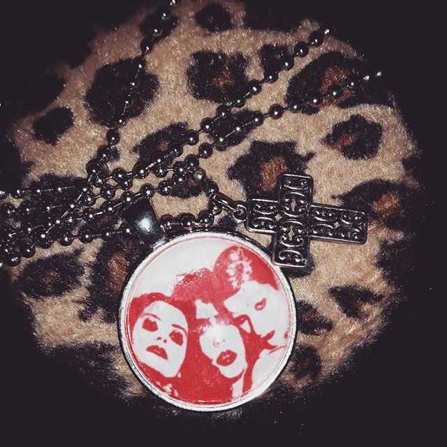 #rockyhorrorpictureshow necklace now comes with cross charm affixed ~ click the link in my bio to purchase ~ #etsy #roadkilljill #roadkilljillcreations #rhps