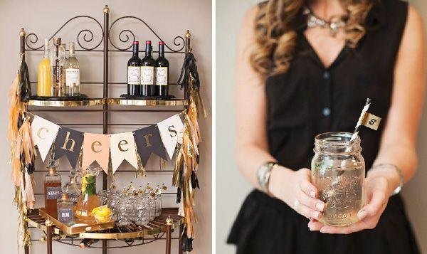mason jars & flutes/martini glasses :: High Style Black & Gold Birthday Party