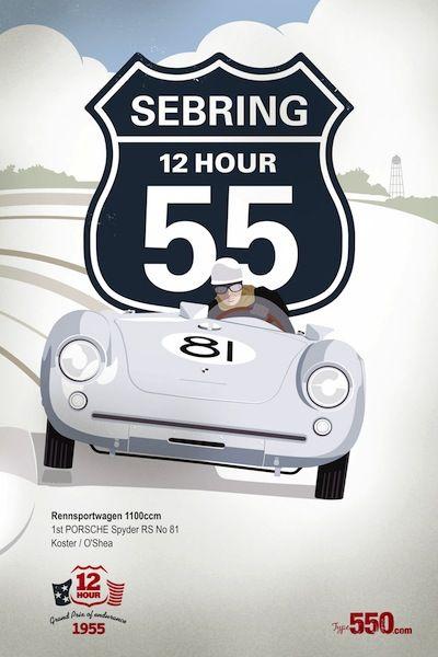Porsche 550 Spyder Sebring Vintage Racing poster download only $8.50 - http://posters.type550.com