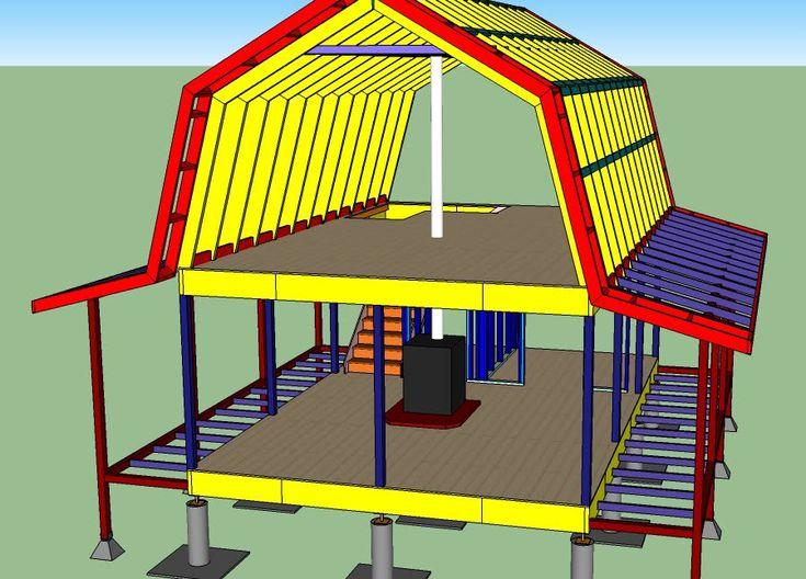 Gambrel roof cabin 16x24 weekend retreat pinterest for Gambrel roof cabin plans