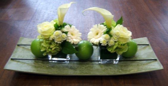 composition florale dans les tons de vert