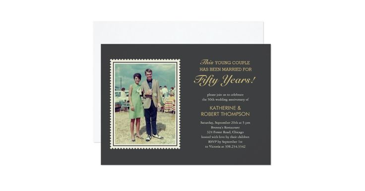 """Old photo wedding anniversary invitations. The headline reads """"This young couple has been married for.."""". Upload an old photo of your parents and customise the text to use for any wedding anniversary."""