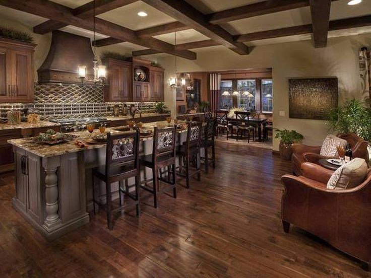 Kitchen , Old World Kitchen Room Style : Old World Kitchen Room Style Open Space With Exposed Beams And Large Island And Bar And Pendant Lighting
