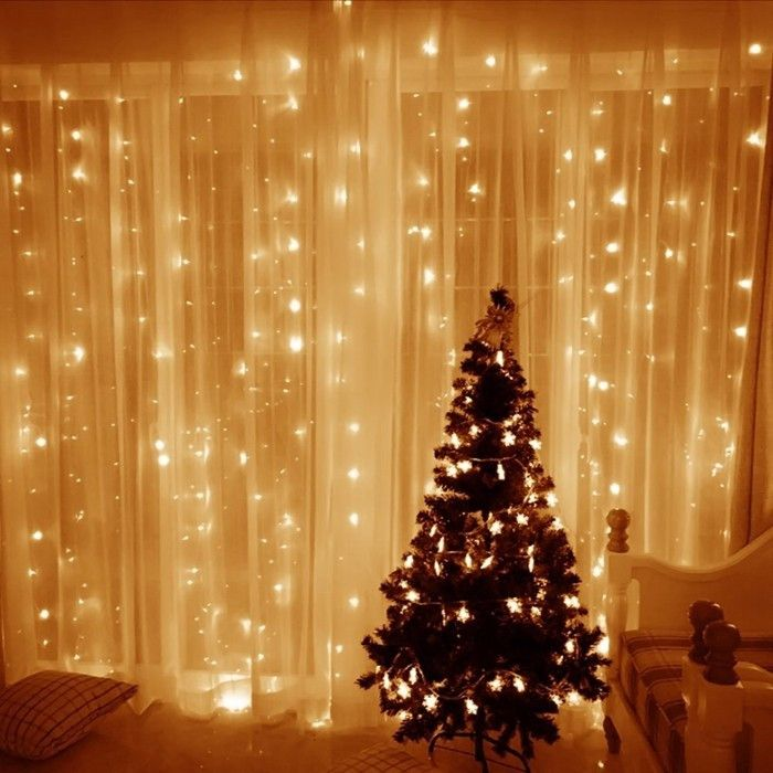 3m X 3m 8 Modes 306 Led Christmas Curtain String Fairy lights ...