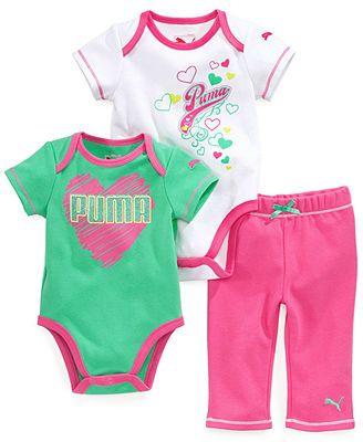 Puma Baby Girls' 3-Piece Bodysuits & Pants Set