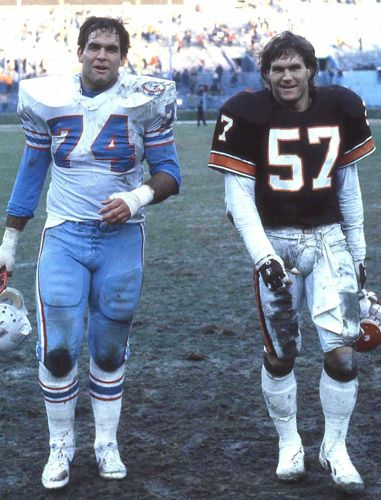 The Matthews Brothers - Bruce (Houston Oilers) and Clay, Jr. (Cleveland Browns).This picture is from 1984.