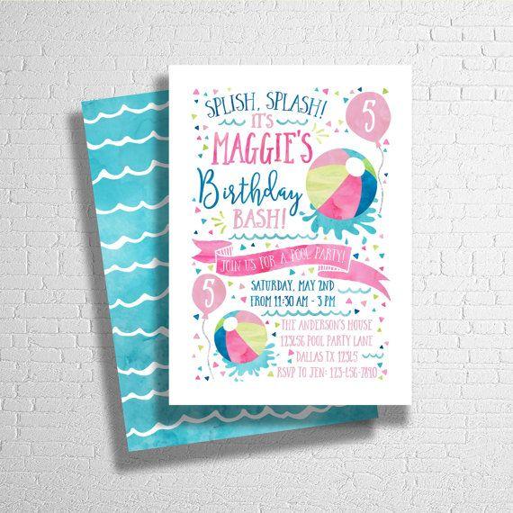 beach ball invitation splish splash pool party birthday invite birthday pool party