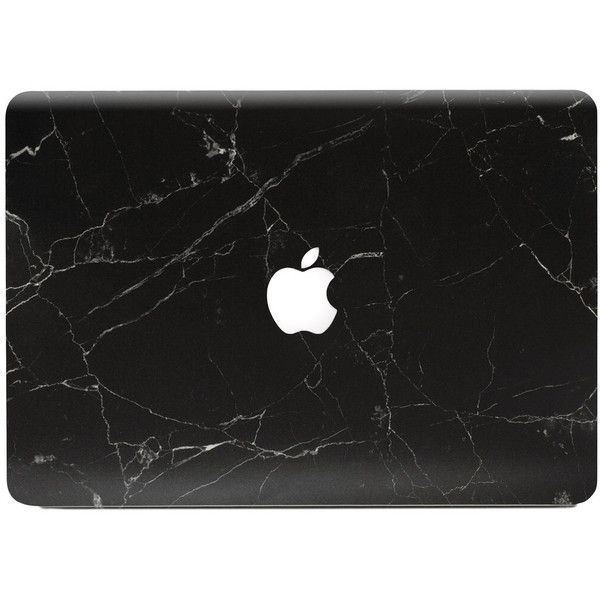 Marble MacBook Skin Black (346.235 IDR) ❤ liked on Polyvore featuring accessories, electronics, fillers, misc and other