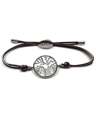 Fossil Bracelet, Streel Tree Coin Brown Leather Wrap Bracelet - Fossil - Jewelry & Watches - Macy's